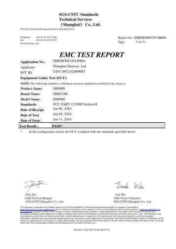 Specific Absorption Rate SAR Test Report FIC First