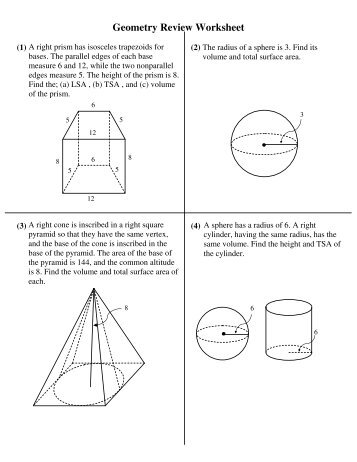 Geometry Final Exam Review Worksheet