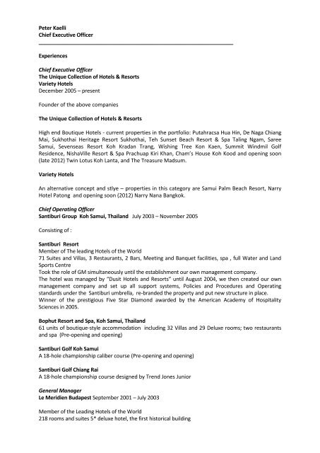 Professional Hotel Management Team Profile The Unique