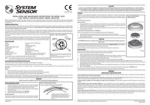 system sensor 2351e smoke detector wiring diagram visio stencil installation and maintenance instructions for model low