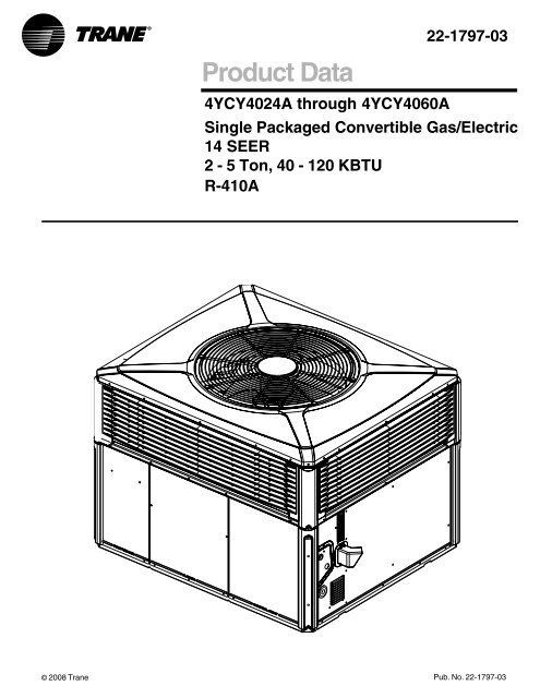 Trane XL14c Package Gas Electric Product Data Specifications