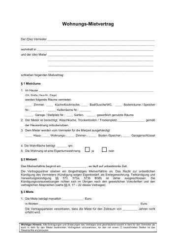 Mietvertrag fr Wohnungen  Verein Deutscher Vermieter