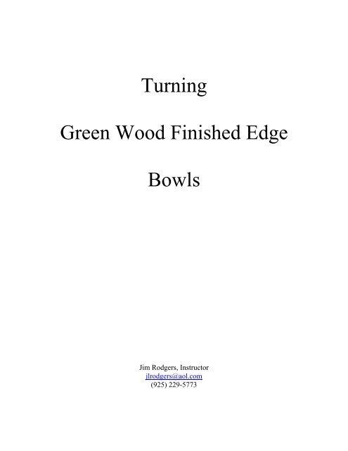 Finishing Green Wood Bowls