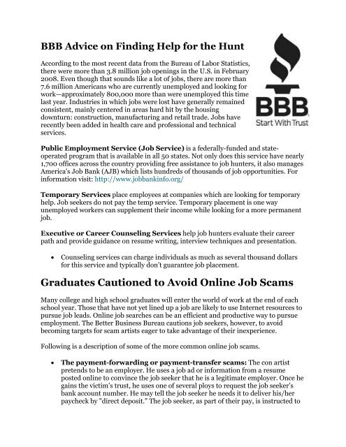 Graduates Cautioned To Avoid Online Job Scams Career Center