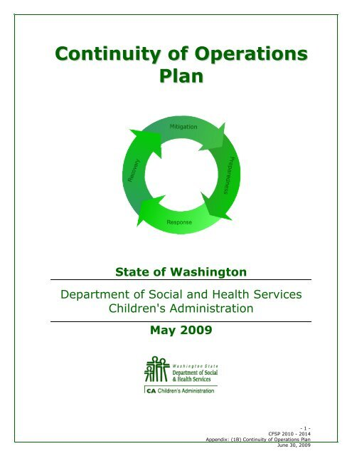 Dshs Puyallup : puyallup, Continuity, Operations, Plann