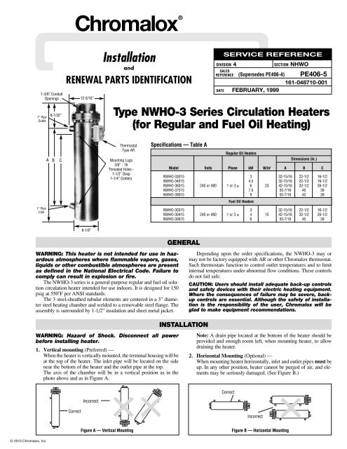 nwho3 series circulation heaters installation manual