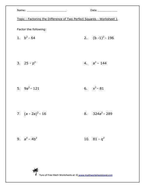 Factoring the Difference of Two Perfect Squares Worksheet