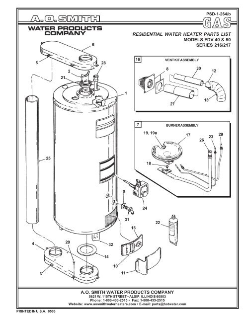 Ao Smith 40 Gallon Water Heater Wiring Diagram