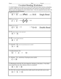 Printables. Chemical Bonding Worksheet With Answers ...