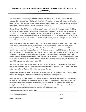 Liability Release and Waiver Form – Minors - JAMSpiritSites.com