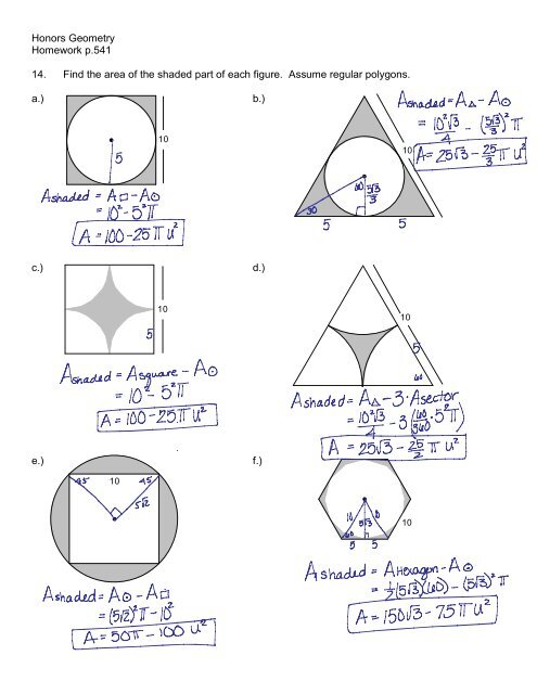 Honors Geometry Homework p.541 14. Find the area of the
