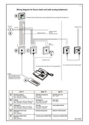 ZA 0322 Wiring diagram for Escon desk unit (with analog