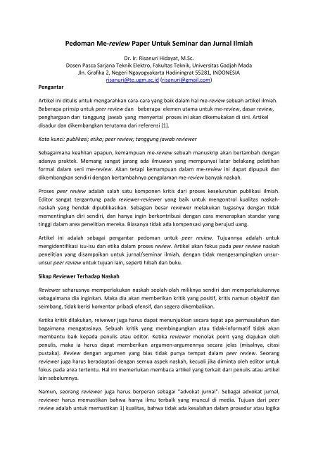 Contoh Review Artikel : contoh, review, artikel, Pedoman, Me-review, Paper, Untuk, Seminar, Jurnal, Ilmiah