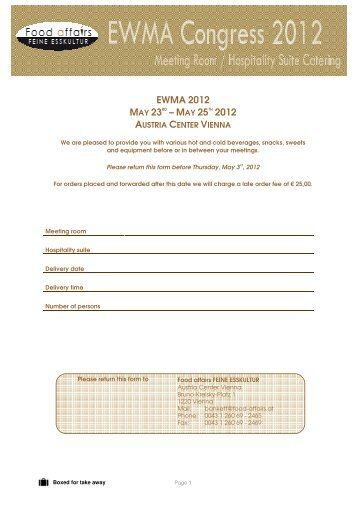 Stand Catering Order Form [PDF] - EWMA conference 2012