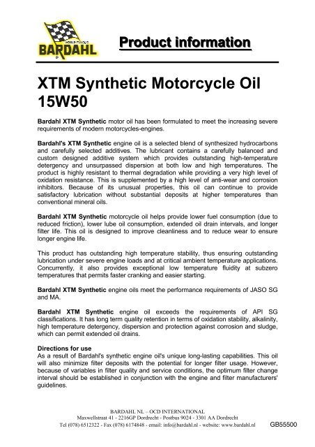 Xtm Synthetic Motorcycle Oil 15w50