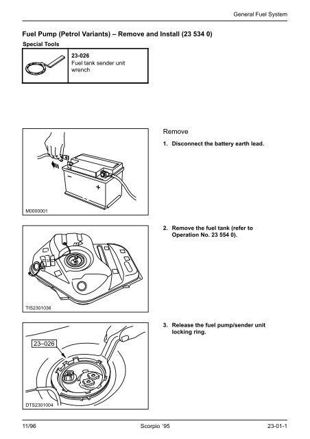 Fuel Pump (Petrol Variants) – Remove and Install (23
