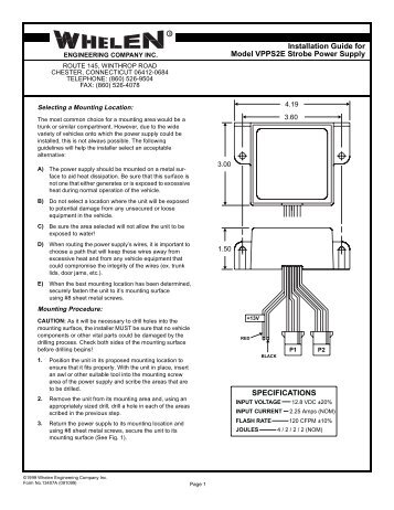 13022: BL188C Strobe Power Supply  Whelen Engineering