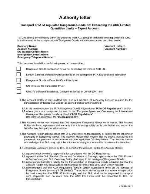 Approval Authority Letter for Dry Ice EXPORT  DHL