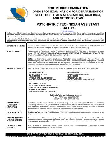 Psychiatric Technician Trainee Safety  Department of State