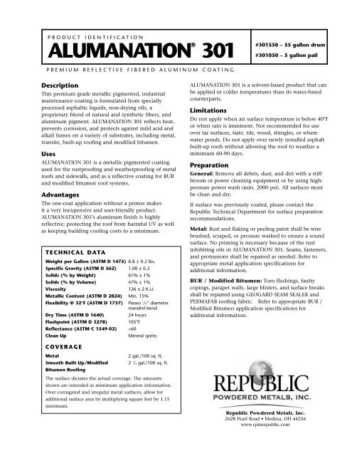 alumanation 301 pds republic powdered
