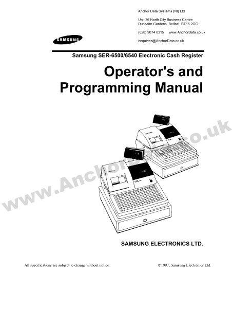 FREE Samsung SER-6500/40 Series Cash Register User Manual