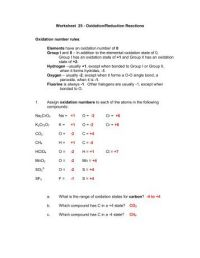 Worksheet 7 - Oxidation/Reduction Reactions Oxidation ...