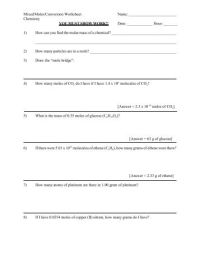 Mole Problems Worksheet. Worksheets. Ratchasima Printable