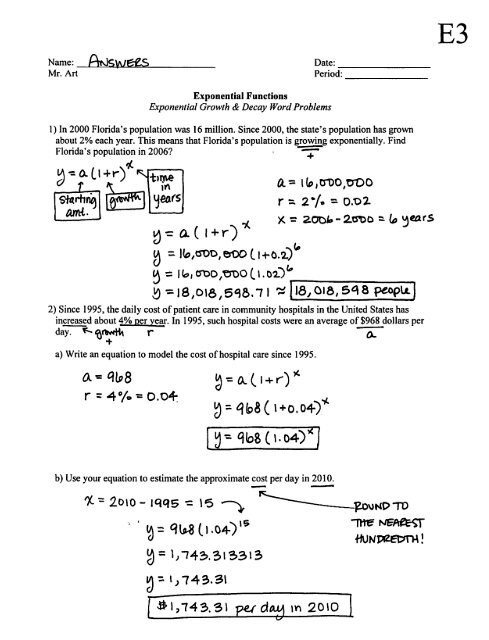 Exponential Growth And Decay Worksheet Answer Key Algebra 2 : exponential, growth, decay, worksheet, answer, algebra, Exponential, Functions, Growth, Decay, Worksheet, Answers
