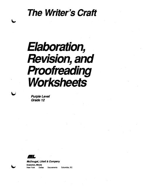 Elaboration, Revision, and Proofreading Worksheets