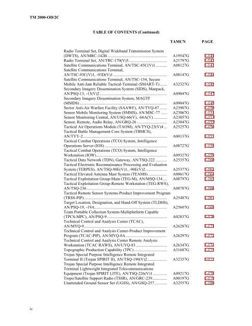 TABLE OF CONTENTS (Contin