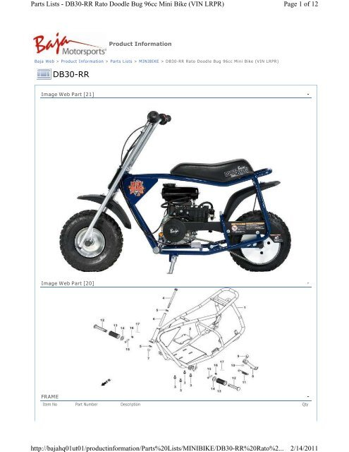 Mini Bike Parts Catalog : parts, catalog, Parts, Lists, DB30-RR, Doodle, Motorsports