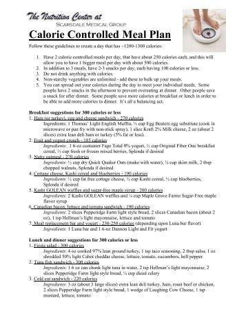 Sample Meal Plan A (1200 Calories) - Shop