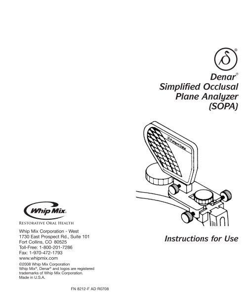 Simplified Occlusal Plane Analyzer Instruction Manual