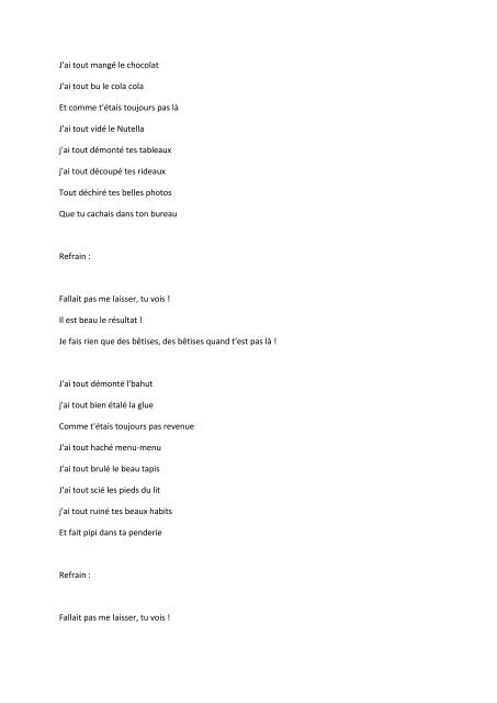 Sabine Paturel - Les bêtises Lyrics & traduction