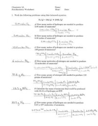 Stoichiometry Problems Worksheet 1 Answers Free Worksheets ...