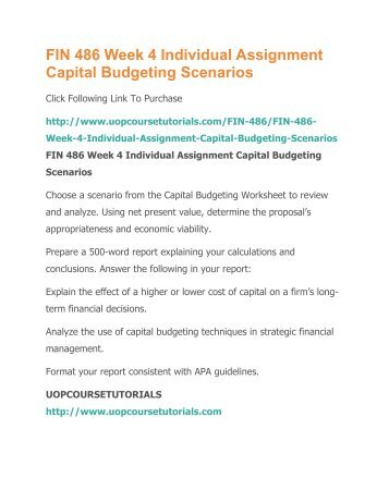 Scenario Analysis In Capital Budgeting Pdf | The Scenarios