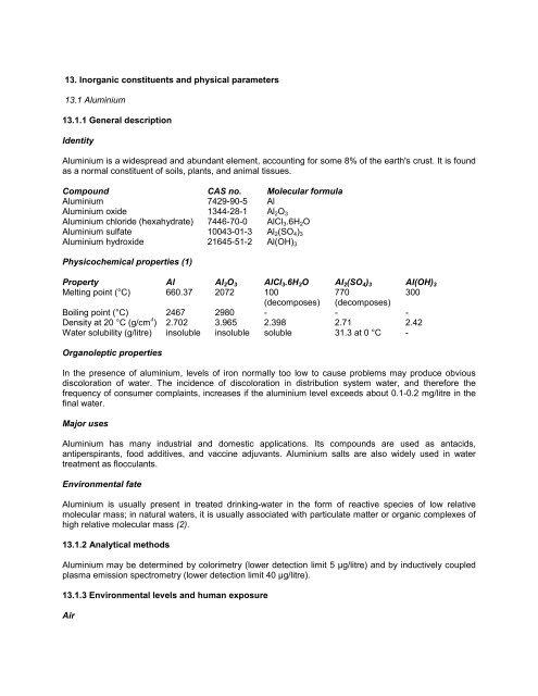 physical parameters 13 1 aluminium
