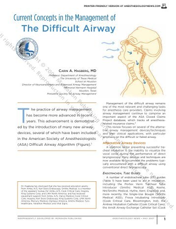Prevention and treatment of the unexpected difficult airway in children