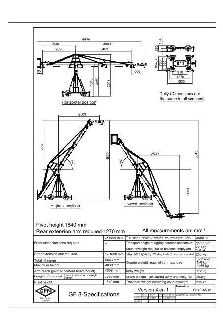 technical specification camera crane system GF-8 Xten