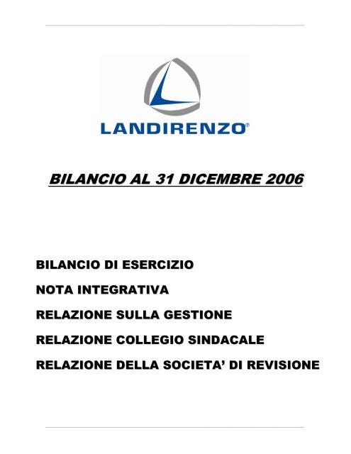 Bilancio di esercizio al 31/12/2006 Landi Renzo S.p.A.