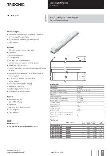 tridonic emergency ballast wiring diagram 1991 toyota pickup headlight lighting units pc combo tc l