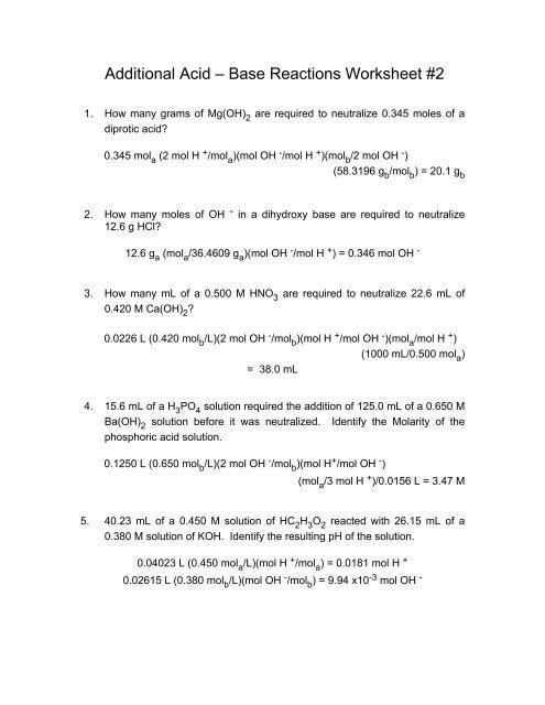 Acid Base Neutralization Reaction Worksheet : neutralization, reaction, worksheet, Additional, Reactions, Worksheet