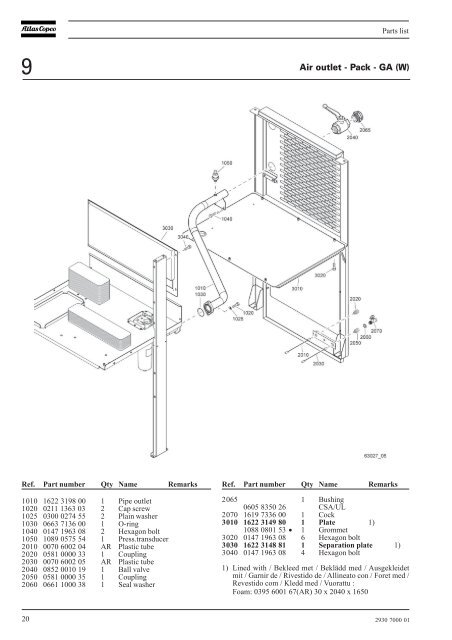 Parts list 9 Air outlet