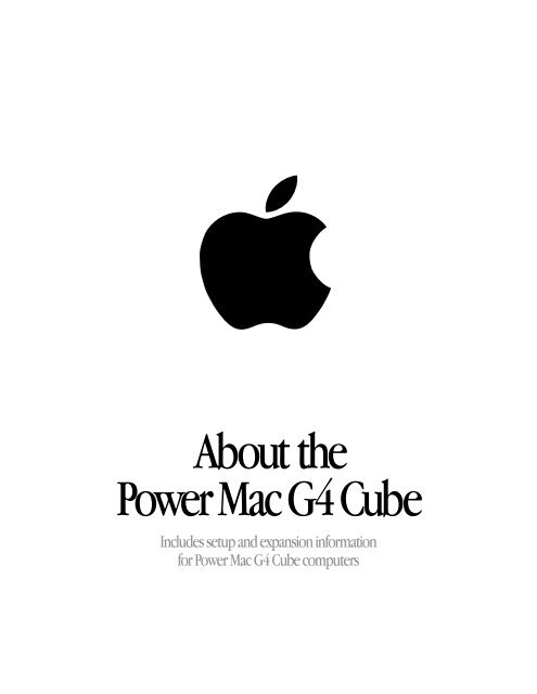 Apple About the Power Mac G4 Cube Manual and user guide