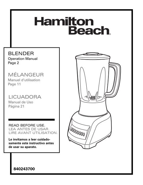 Hamilton Beach 10 Speed Blender (50129) Manual and user