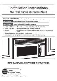 panasonic over the range microwave oven