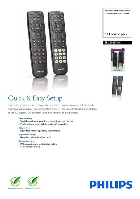 Philips Perfect replacement Universal remote control