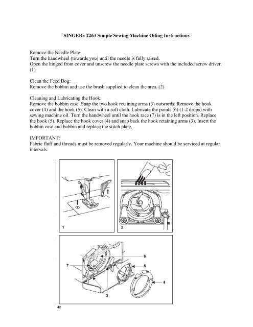 Singer Simple Sewing Machine Manuals : singer, simple, sewing, machine, manuals, Singer, Oiling, English, Manual