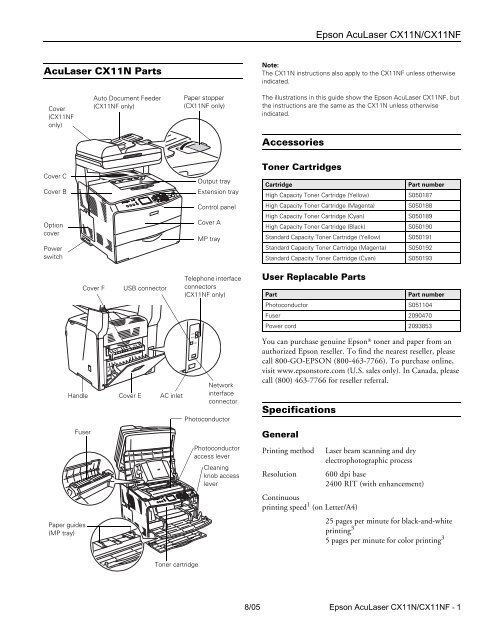 Epson Epson AcuLaser CX11N Manual and user guide