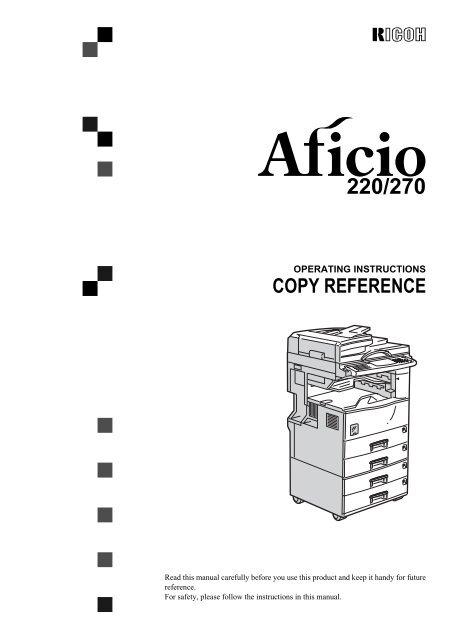 Aficio 220/Aficio 270, D422/D427, 2822/2827